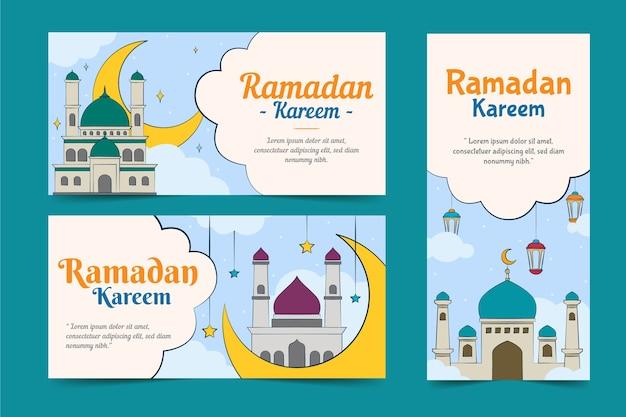 Pack De Bannières De Ramadan Dessinés à La Main Vecteur gratuit