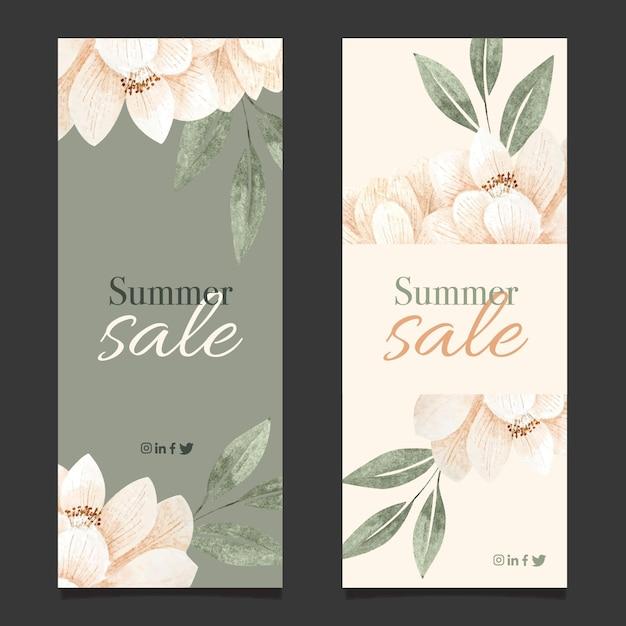 Pack De Bannières De Soldes D'été Vecteur Premium