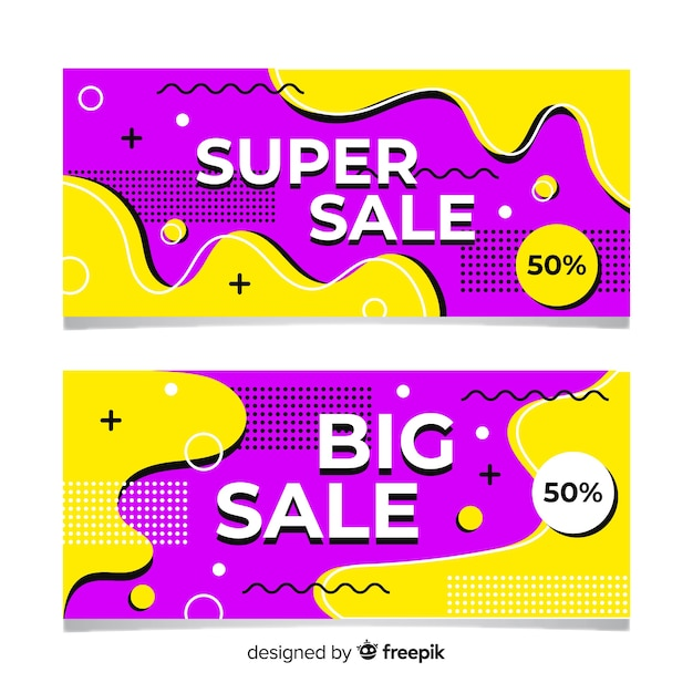 Pack de bannières de vente aux couleurs abstraites Vecteur gratuit