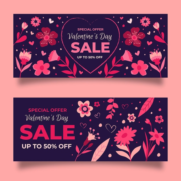 Pack De Bannières De Vente Dessinés Pour La Saint-valentin Vecteur gratuit