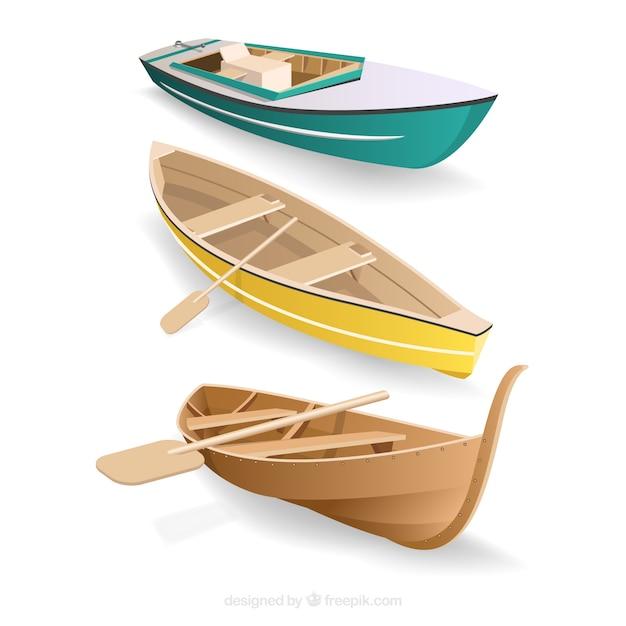 Pack de bateaux en style réaliste Vecteur gratuit
