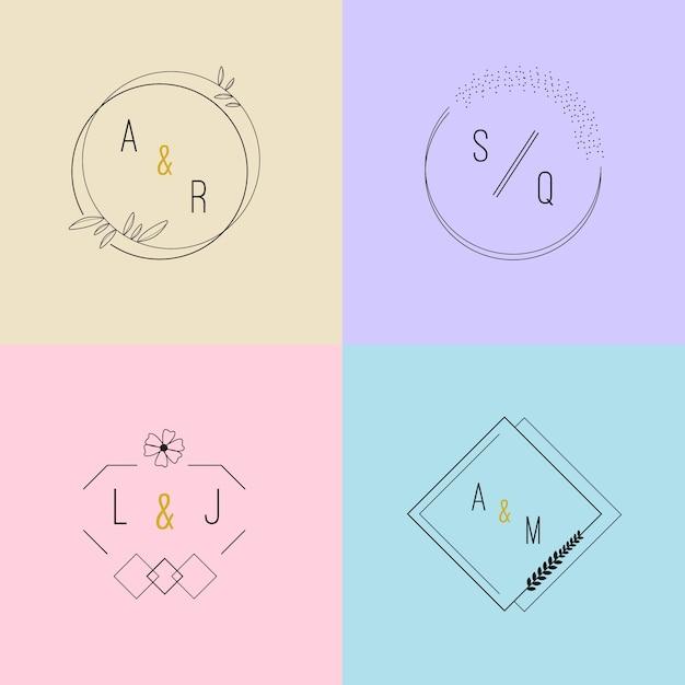 Pack de beaux monogrammes de mariage aux couleurs pastel Vecteur gratuit