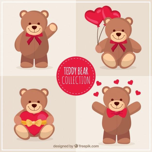 Pack belle ours en peluche Vecteur gratuit