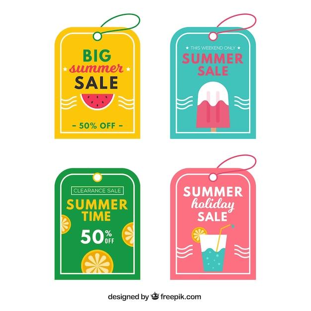 Pack De Belles étiquettes De Vente D'été Vecteur gratuit