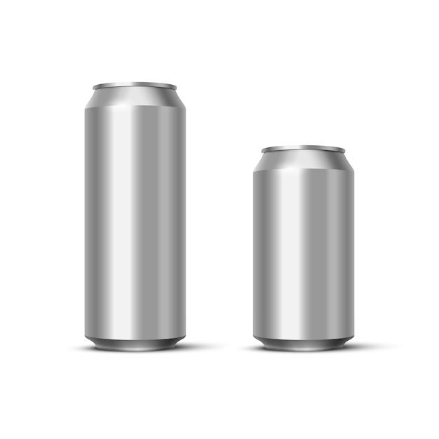 Pack De Bière Ou De Soda En Aluminium, Canettes Métalliques Vierges Réalistes. Vecteur Premium