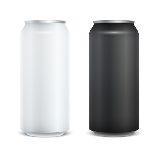 Pack de bière vide en aluminium blanc brillant. Vecteur Premium