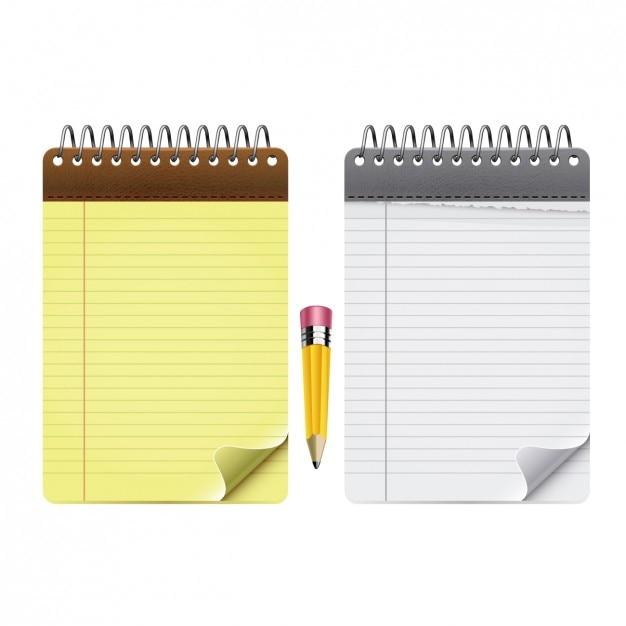 Pack bloc notes avec un crayon t l charger des vecteurs - Telecharger un bloc note pour le bureau ...