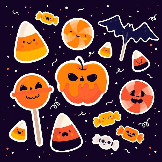 Pack De Bonbons Du Festival D'halloween Vecteur gratuit