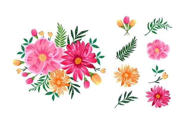 Pack de bouquet floral coloré en 2d Vecteur gratuit