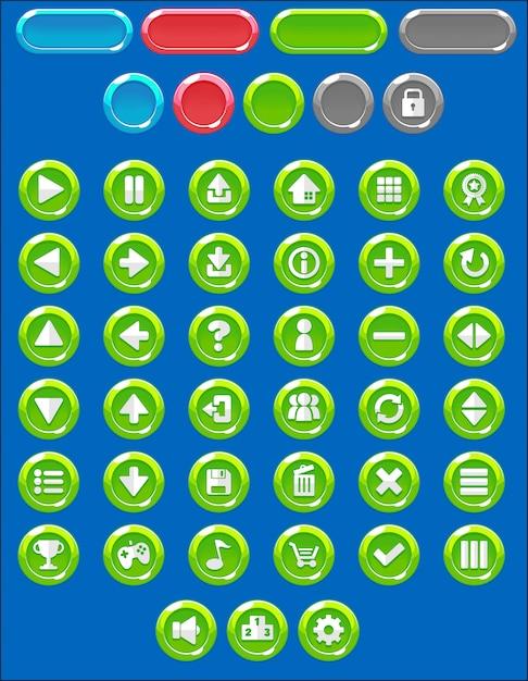 Pack de boutons de jeu rond Vecteur Premium