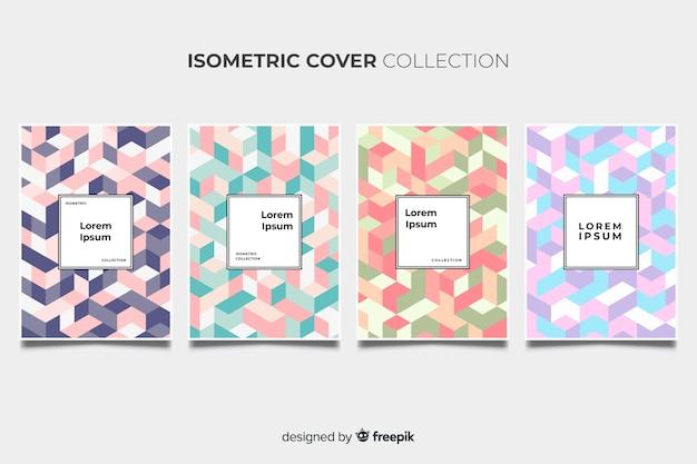 Pack de brochures de motifs colorés isométriques Vecteur gratuit