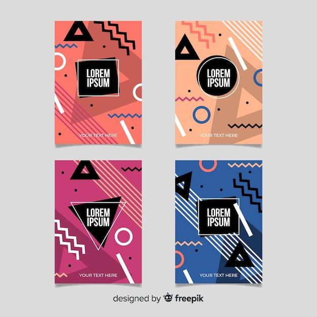 Pack de brochures de style memphis Vecteur gratuit