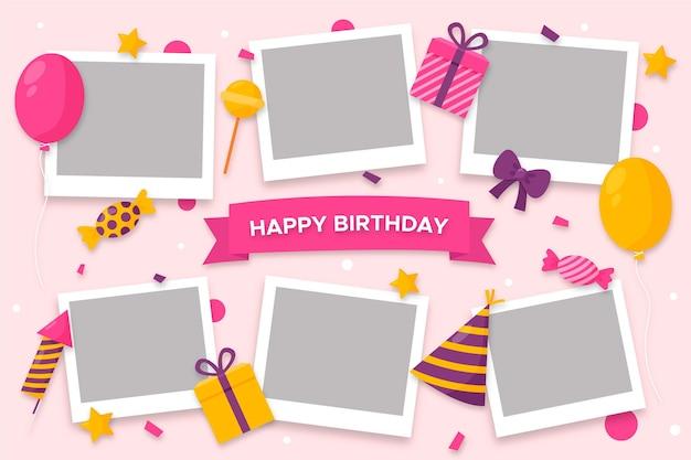 Pack De Cadre De Collage D'anniversaire Plat Vecteur gratuit