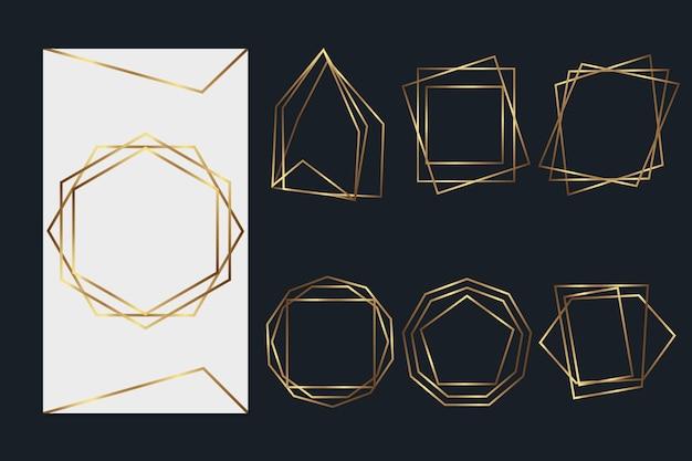 Pack cadre doré polygonal Vecteur gratuit