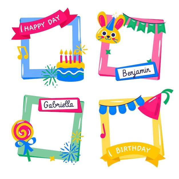Pack De Cadres De Collage D'anniversaire Dessinés à La Main Vecteur gratuit