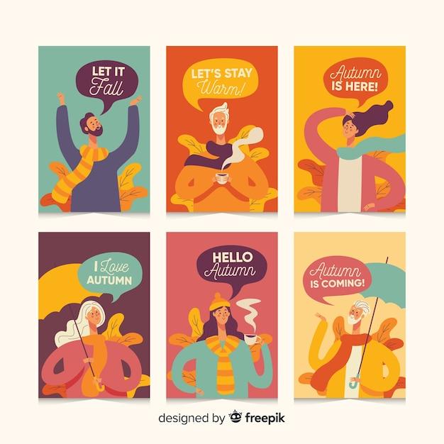 Pack de cartes d'automne Vecteur gratuit