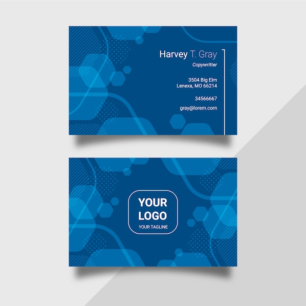Pack De Cartes De Visite Abstrait Modèle Bleu Classique Vecteur gratuit