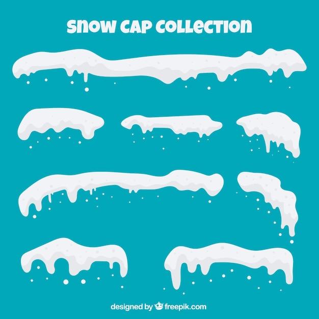 Pack de casquette de neige dans le style plat Vecteur gratuit