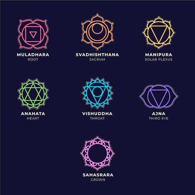 Pack De Chakras Colorés Vecteur gratuit