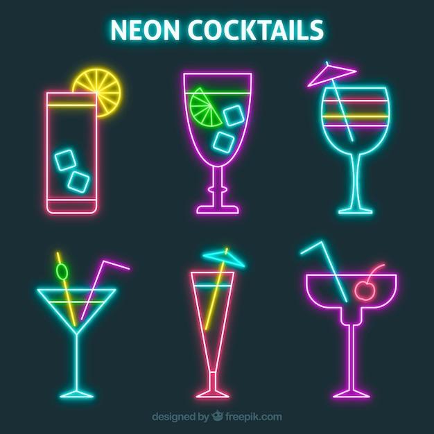 Pack de cocktails en néon colorés Vecteur gratuit