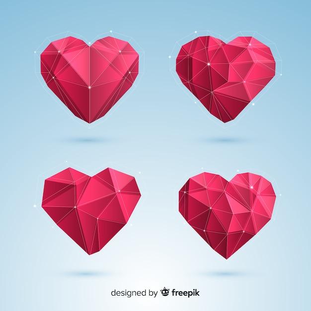 Pack Coeur Origami Vecteur gratuit