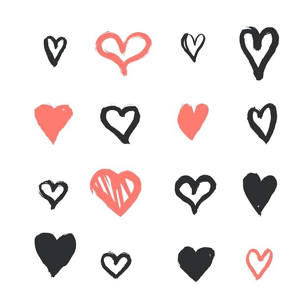 Pack De Coeur De Style Dessiné à La Main Vecteur gratuit