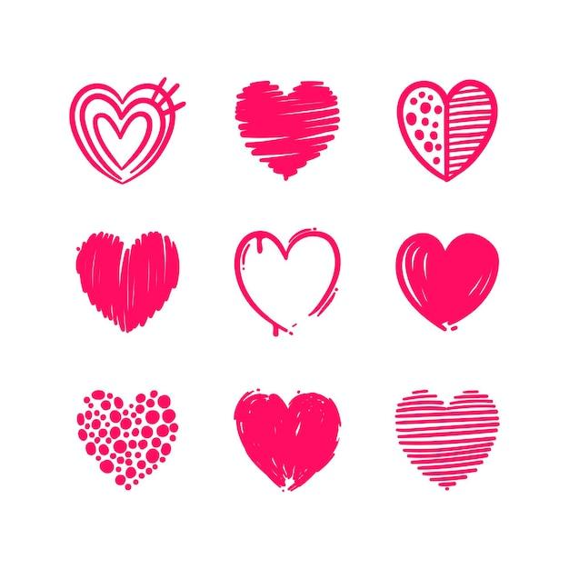 Pack De Coeurs Dessinés à La Main Vecteur gratuit