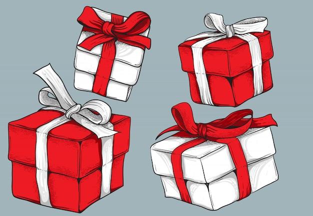 Pack De Coffrets Cadeaux Isolé Sur Fond Gris Pour La Conception D'éléments Vecteur Premium