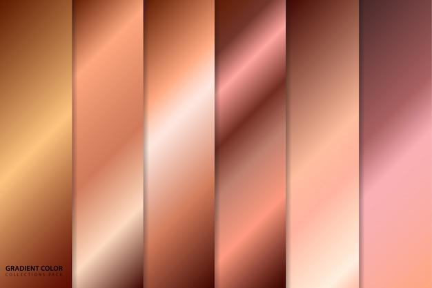 Pack de collections de couleurs dégradé or rose Vecteur Premium