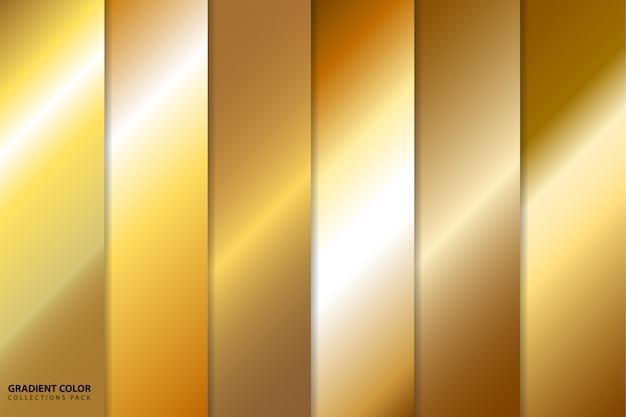 Pack de collections de couleurs dégradé or Vecteur Premium