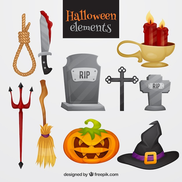 Pack coloré d'éléments de halloween effrayants Vecteur gratuit