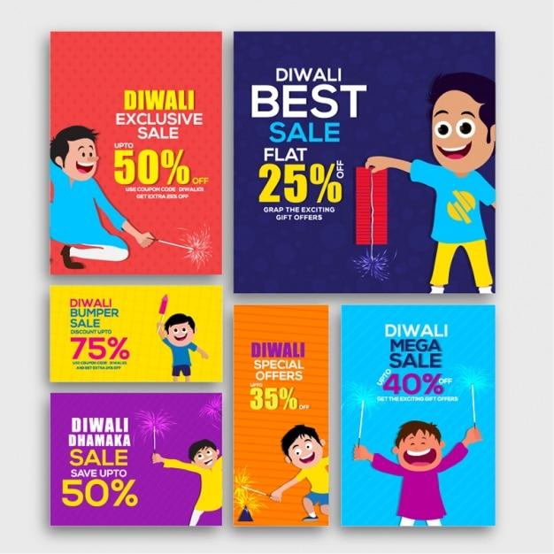 Pack colorful de bannières de vente de décoration pour diwali Vecteur Premium
