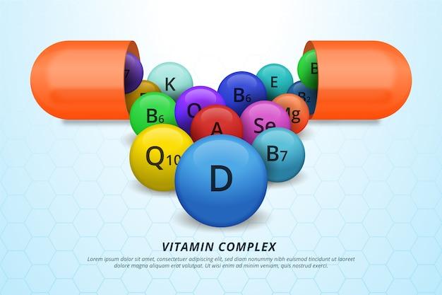 Pack Complexe De Vitamines Et Minéraux Vecteur gratuit