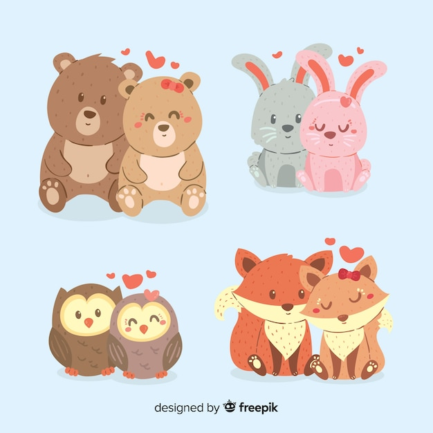 Pack de couple animal saint valentin dessiné à la main Vecteur gratuit