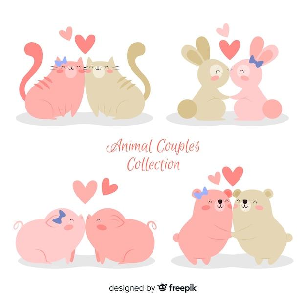 Pack de couple animaux mignons valentin Vecteur gratuit