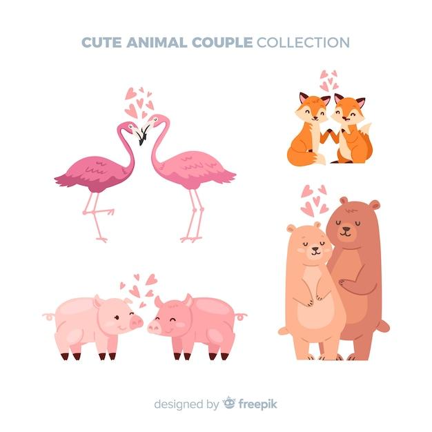 Pack de couple animaux saint valentin Vecteur gratuit