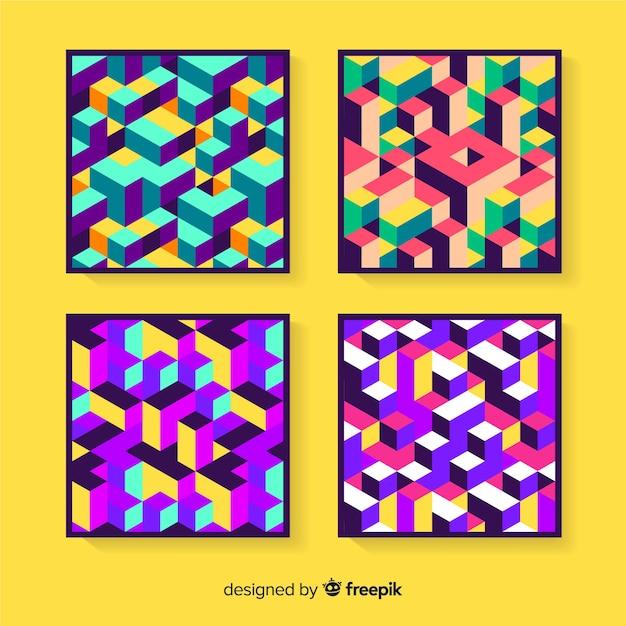 Pack de couverture de motif isométrique coloré Vecteur gratuit
