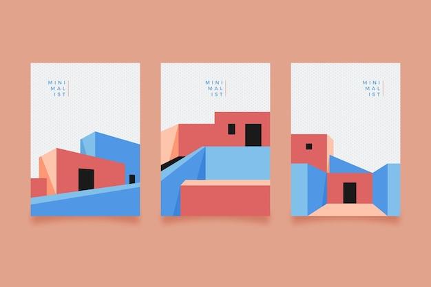 Pack De Couvertures D'architecture Minimale Vecteur gratuit
