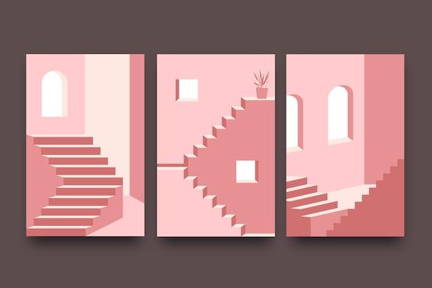 Pack De Couvertures D'architecture De Modèle Minimal Vecteur gratuit