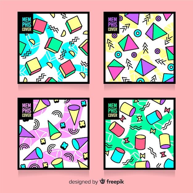 Pack de couvertures colorées de style memphis Vecteur gratuit