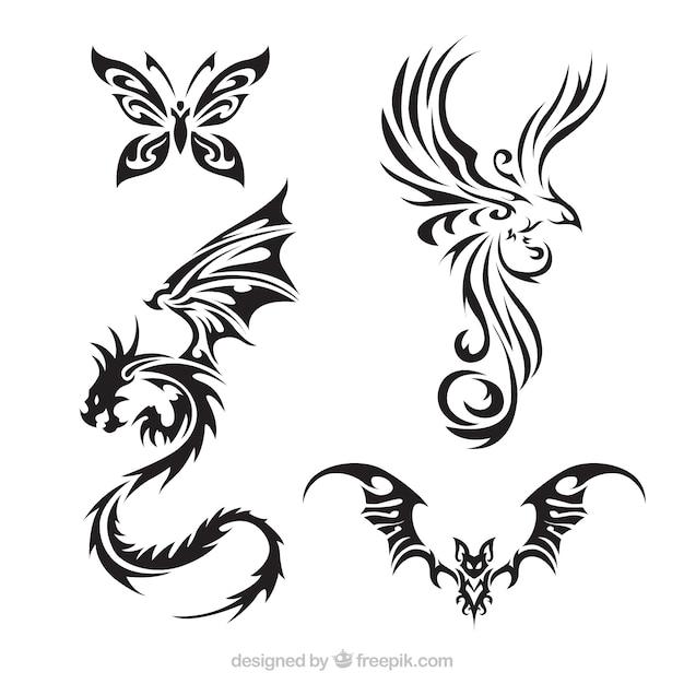 Pack de créatures de tatouage avec des ailes Vecteur gratuit