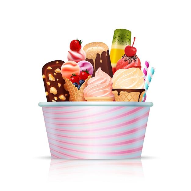 Pack De Crème Glacée Vecteur gratuit