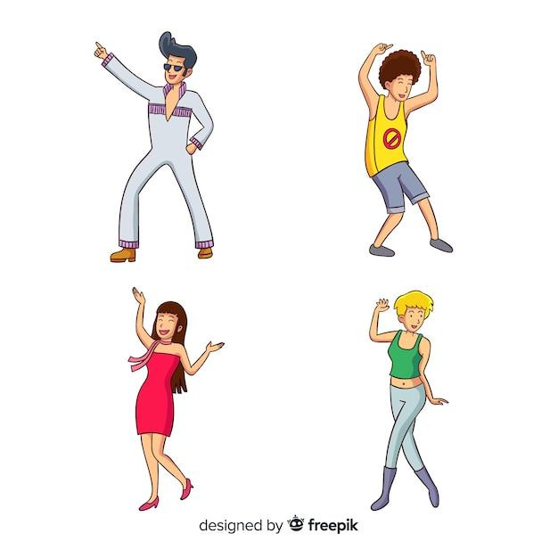 Pack de danse personnes dessinées à la main Vecteur gratuit
