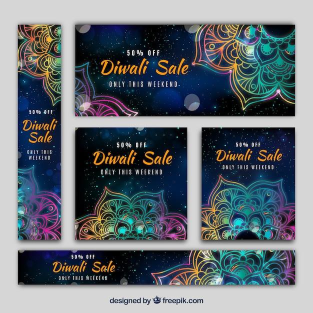 Pack de bannières de diwali avec des mandalas colorées Vecteur gratuit