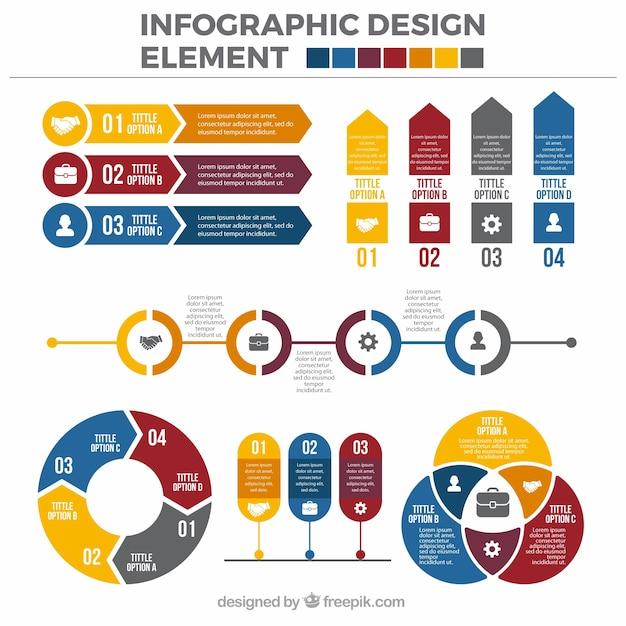 pack de couleur d u0026 39  u00e9l u00e9ments plats infographiques