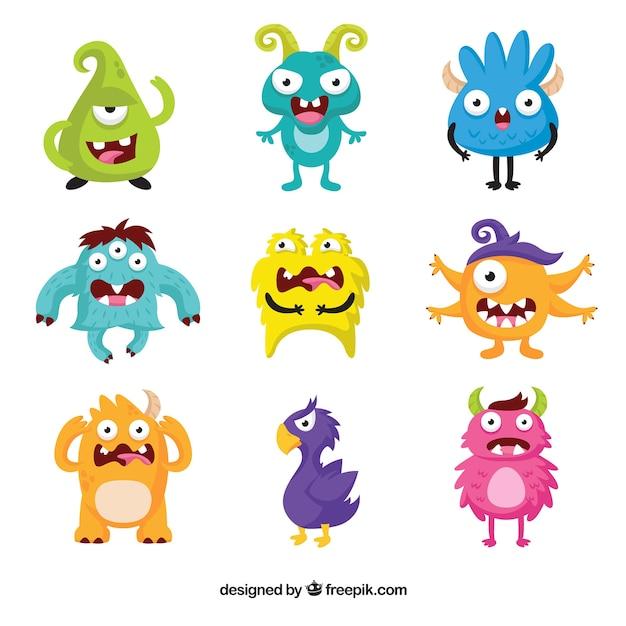 Pack de neuf personnages de monstres rigolos t l charger - Images de monstres rigolos ...