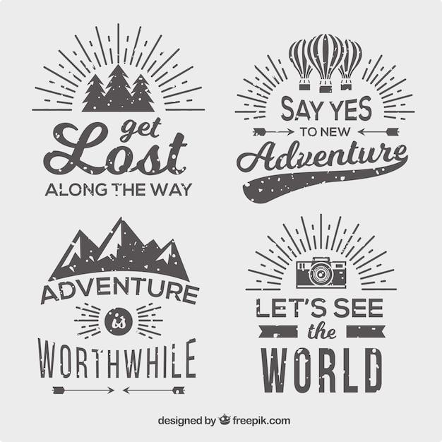 Pack de quatre badges d'aventure style vintage Vecteur gratuit