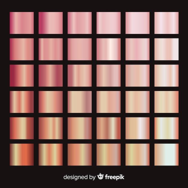 Pack dégradé doré rose brillant Vecteur gratuit
