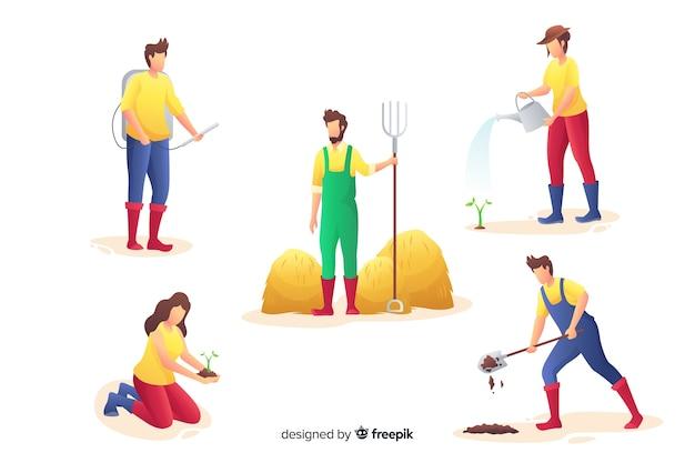 Pack de design plat ouvrier agricole Vecteur gratuit