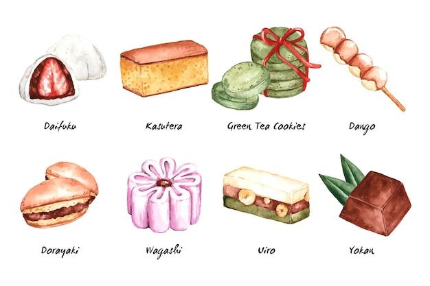 Pack De Desserts De La Gastronomie Asiatique Vecteur gratuit